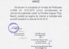 Cererea de ofertă pentru Servicii de publicitate media, anulată de Primărie
