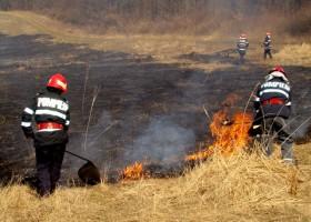 Incendiu de vegetație uscată la Răucești