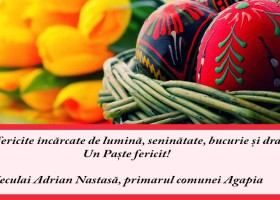 Mesaj de felicitare cu ocazia Sărbătorilor Pascale – Neculai Adrian Nastasă, primarul comunei Agapia