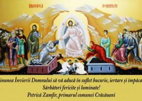 Mesaj de felicitare cu ocazia Sărbătorilor Pascale – Petrică Zamfir, primarul comunei Crăcăoani