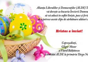 Felicitare cu ocazia Sf Paște ALDE Târgu Neamț