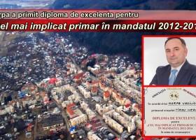 """Daniel Harpa, diplomă de excelență pentru """"Cel mai implicat primar în mandatul 2012- 2016"""""""