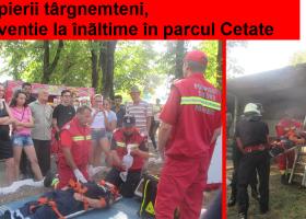 Pompierii, intervenție la înălțime în parcul Cetate