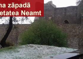 Poza Zilei: prima zăpadă din acest sezon rece, la Cetatea Neamț