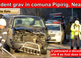 Accident foarte grav în comuna Pipirig. Imagini de la fața locului