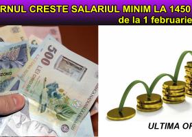 Salariul de bază minim brut garantat în plată, majorat la 1.450 lei lunar