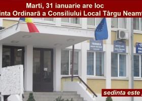 Se convoacă C.L. Târgu Neamț în Ședință Ordinară: MARȚI, 31 ianuarie, ora 15.00
