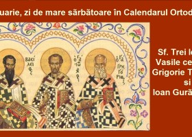 Sfinții Trei Ierarhi: Vasile cel Mare, Grigorie Teologul și Ioan Gură de Aur