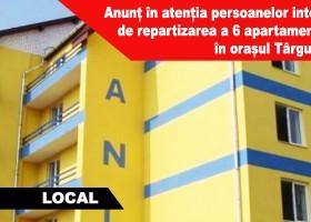Anunț în atenția persoanelor interesate de repartizarea a 6 apartamente cu 1 cameră (locuințe ANL) în orașul Târgu Neamț