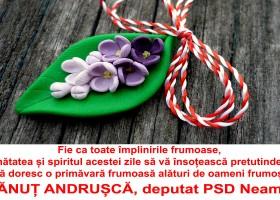 Deputat Dănuț Andrușcă – Felicitare de Mărțișor