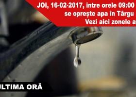 JOI, 16-02-2017, între orele 09:00 – 17:00 se oprește apa în Târgu Neamț. Vezi aici zonele afectate