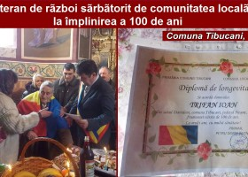 Țibucani: Veteranul de război Ioan Trifan, sărbătorit de comunitatea locală la împlinirea a 100 de ani