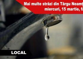Mai multe străzi din Târgu Neamț rămân miercuri, 15 martie, fără apă