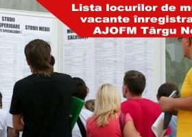 Lista locurilor de muncă vacante înregistrate la data de 13 martie 2017