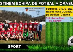Duminică, meci de fotbal pe stadion Cetatea. Susține echipa orașului Târgu Neamț!