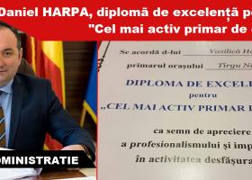 """Primarul de Târgu Neamț, distins cu diploma """"Cel mai activ primar de oraș"""""""