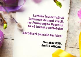 Senator PSD Neamț Emilia Arcan – Felicitare de Paști