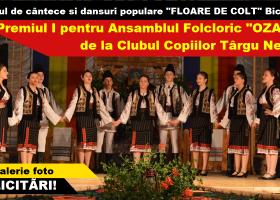 """Premiul I pentru Ansamblul Folcloric """"Ozana"""" de la Clubul Copiilor Târgu Neamț, la Festivalul """"Floare de Colț"""""""