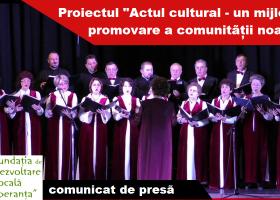 """""""Actul cultural- un mijloc de promovare a comunității noastre"""""""