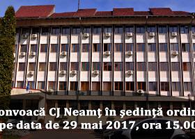 Anunț convocare ședință ordinară CJ Neamț, 29 mai, ora 15:00