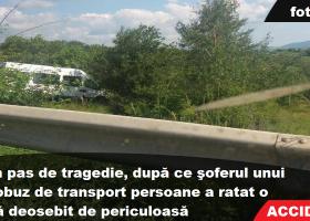 Accident la Bălţăteşti: microbuz cu pasageri, între curba periculoasă şi prăpastia abruptă