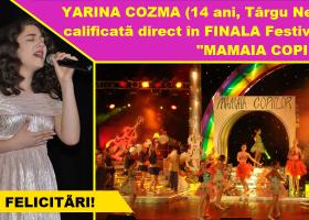 Festivalul Best Pop-Rock o trimite de Yarina Cozma din Târgu Neamț direct în finala Festivalului Mamaia Copiilor