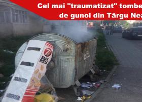 """Cel mai """"traumatizat"""" tomberon de gunoi din Târgu Neamţ"""