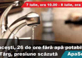 Răuceşti, 26 de ore fără apă potabilă. La Târg, debit scăzut