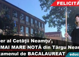 Târgu Neamţ: Străjerul Ştefan Margine şi două domniţe, cea mai mare notă la Bacalaureat