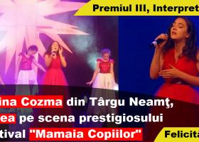 """Yarina Cozma din Târgu Neamț, pe podium la Festivalul Naţional """"Mamaia Copiilor"""""""