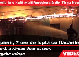 (UPDATE- VIDEO) Ard clădirile și cerul! Incendiu violent vizavi de Liceul Vasile Conta din Târgu Neamț