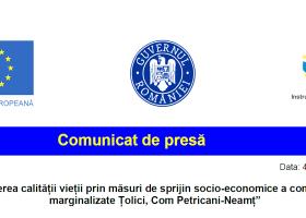 Creșterea calității vieții prin măsuri de sprijin socio-economice a comunității marginalizate Țolici, Com. Petricani-Neamț