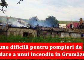 Incendiu cu risc major de extindere la locuințele din jur în Grumăzești
