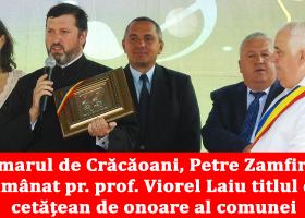 Părintele profesor Viorel Laiu a primit titlul de cetățean de onoare al comunei Crăcăoani