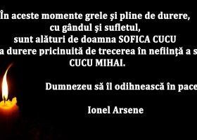 Mesaj de condoleanțe din partea lui Ionel Arsene