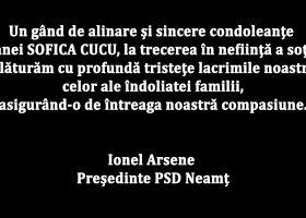 Mesaj de condoleanțe din partea președintelui PSD Neamț