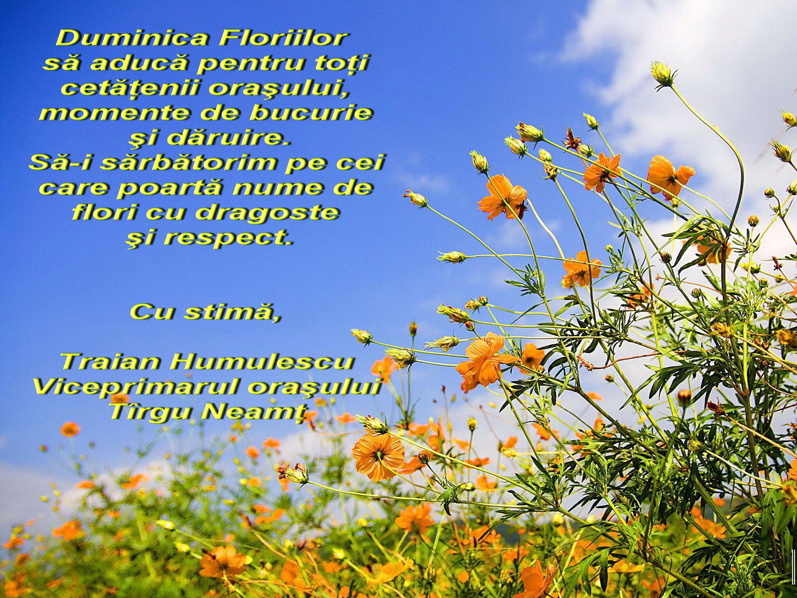 felicitari de ziua floriilor Felicitare de Florii   Traian Humulescu, viceprimarul orasului  felicitari de ziua floriilor